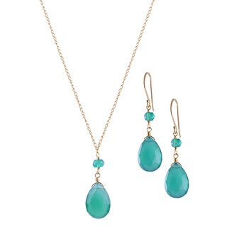 14k Yellow Gold Teardrop Green Onyx Necklace and Earrings Set