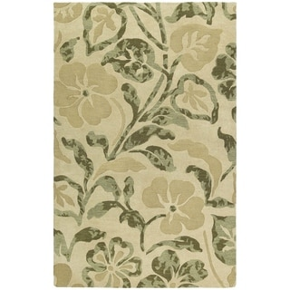 """Handmade Calais Lily In The Valley Beige Wool Rug (5'0"""" x 7'9"""")"""