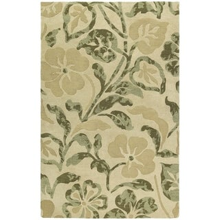 """Handmade Calais Lily In The Valley Beige Wool Rug (8'0"""" x 11'0"""")"""