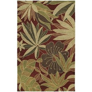 "Handmade Calais Blooming Heights Red Wool Rug (9'6"" x 13'0"")"
