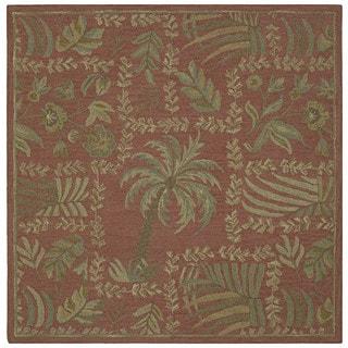 "Tara Squares Cinnamon Lanai Handmade Floral Wool Rug (5'9"" Square)"