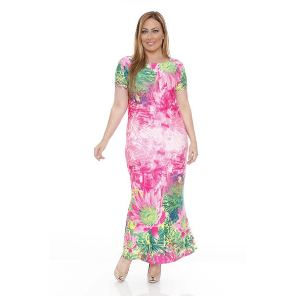 White Mark Plus Size Tie-Dye Floral Maxi Dress
