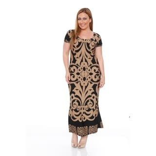 White Mark Women's Plus Size Black Pattern Maxi Dress