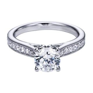 14k White Gold 1/4ct TDW Diamond and Cubic Zirconia Carved Semi-mount Engagement Ring (H-I, I1-I2)