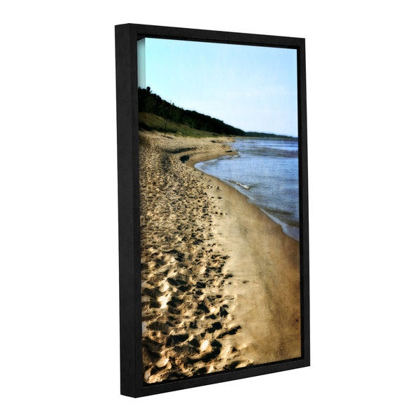 ArtWall Kevin Calkins ' Footsteps In The Sand ' Gallery-Wrapped Floater-Framed Canvas