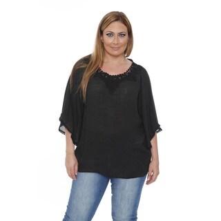 Women's Plus Size Desiree 'Anabel' Crochet Bell Sleeve Blouse