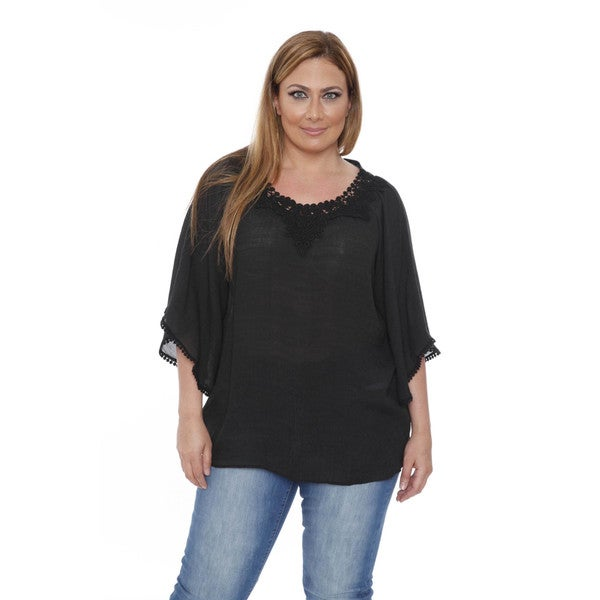 Women's Plus Size Desiree 'Anabel' Crochet Bell Sleeve Blouse