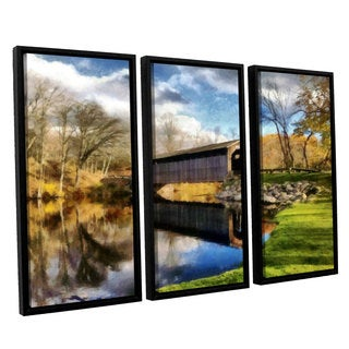 ArtWall Kevin Calkins ' Covered Bridge Reflections 3 Piece Floater Framed Canvas Set
