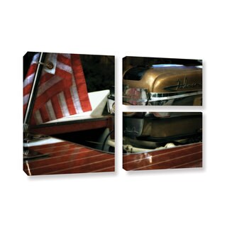 ArtWall Kevin Calkins ' Chris Craft And Old Glory 3 Piece ' Gallery-Wrapped Canvas Flag Set