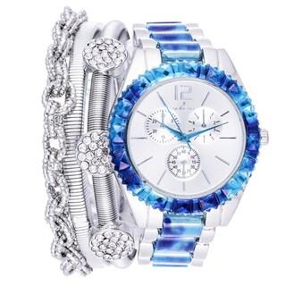 Via Nova Arm Candy Ladie's Fashion Silver & Blue Watch with a Set of 3 Bracelets