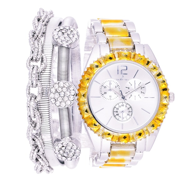 Via Nova Arm Candy Ladie's Fashion Silver & Gold Watch with a Set of 3 Bracelets