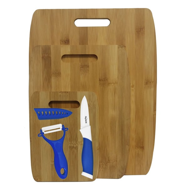 3-piece Bamboo Cutting Boards with Ceramic Knife and Peeler Set (Blue)