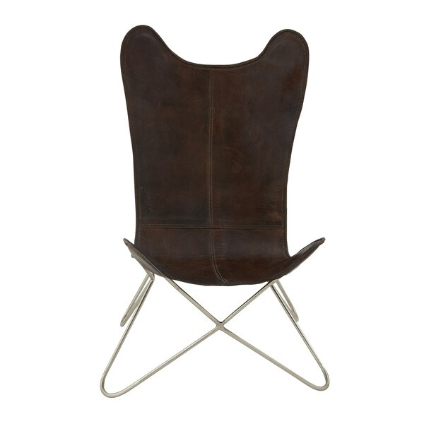 34-inch Brown Metal Leather Chair