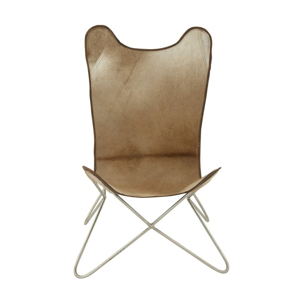 38-inch Brown Metal Hide Leather Chair