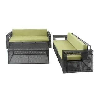 Green Metal Fabric Outdoor Sofa (Set of 3)