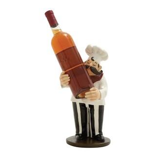 13-inch White, Black Chef Wine Holder