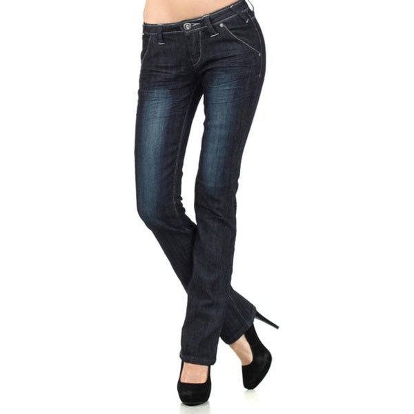 Tabeez Woman's Straight-fit Denim Jeans with Stitching