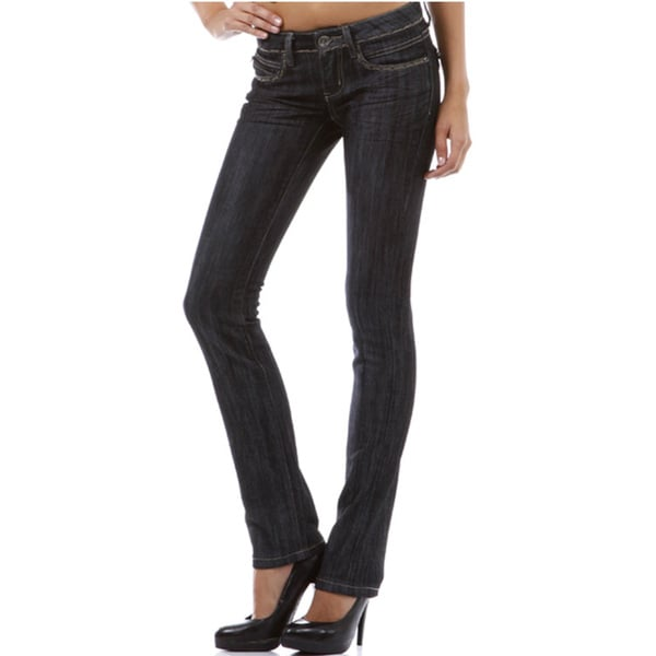 Tabeez Women's Dark Denim Straight Leg Jeans