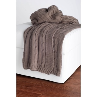 Rizzy Home Cable Knit Sweater Throw Mocha