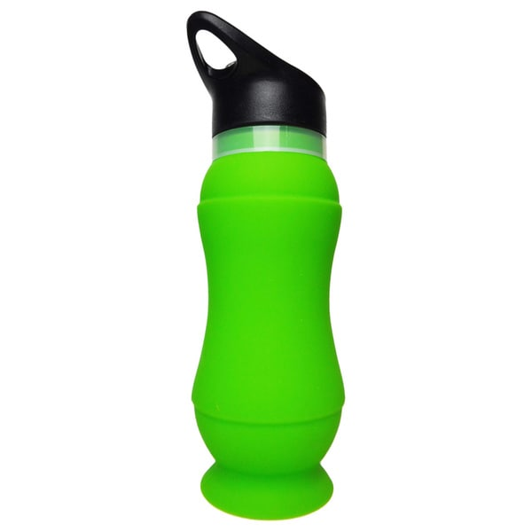 20-ounce Green Silicone Foldable Water Bottle (Set of 2) 15578166