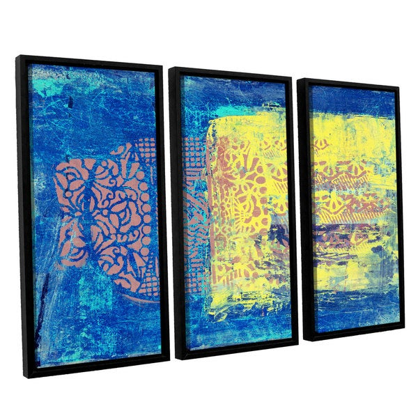 ArtWall Elena Ray ' Blue With Stencils 3 Piece Floater Framed Canvas Set 15578180