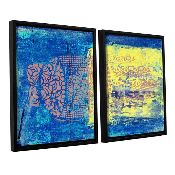 ArtWall Elena Ray ' Blue With Stencils 2 Piece Floater Framed Canvas Set 15578182