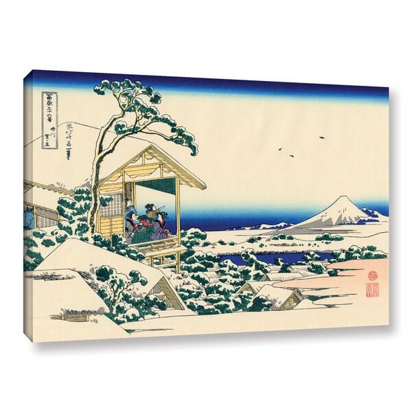 ArtWall Katsushika Hokusai ' Tea house at Koishikawa. The morning after a snowfall' Gallery Wrapped Canvas
