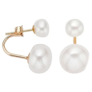 Pearlyta 14k Gold Freshwater Button Pearl Curved Fashion Tribal Earrings (6-8 mm)
