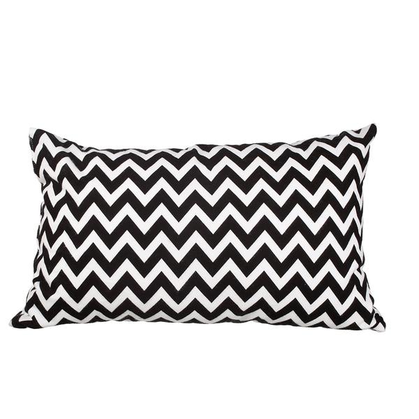 Black Chevron Flannel 20-inch Throw Pillow