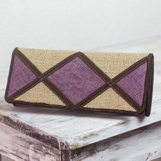 Handcrafted Jute Linen 'Lilac Credit' Wallet (Guatemala)