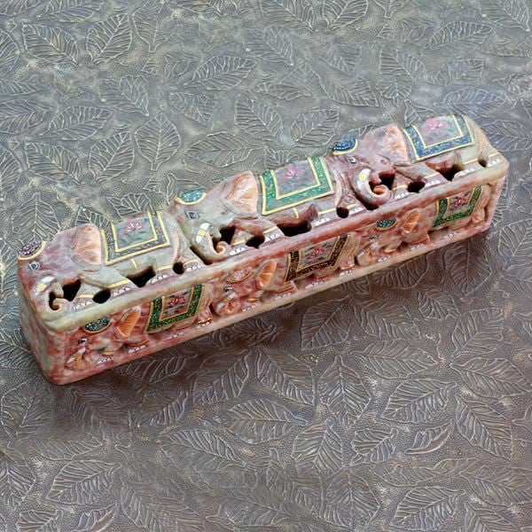 Handcrafted Soapstone 'The King's Elephants' Incense Holder (India)