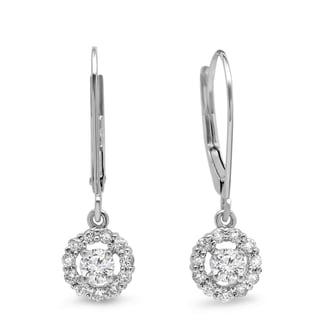 14k White Gold 1/2ct TDW Round-cut Diamond Cluster Halo Drop Earrings (H-I, I1-I2)
