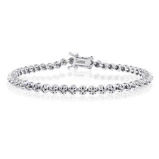 Platinum Overlay 1ct TDW Round Diamond 7-inch Tennis Bracelet (J-K, I1-I2)