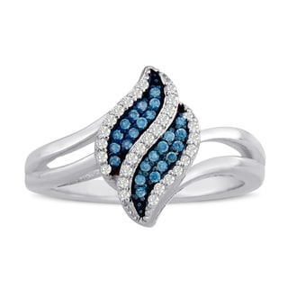 Sterling Silver 1/6ct TDW Blue and White Diamond Ring (H-I, I1-I2)