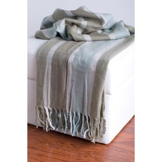 RIzzy Home High Tight Weave Acrylic Throw Beige/ Blue