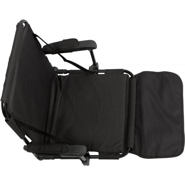 Black Stadium Chair with Stadium Hooks Arm Pads and Leg Padding