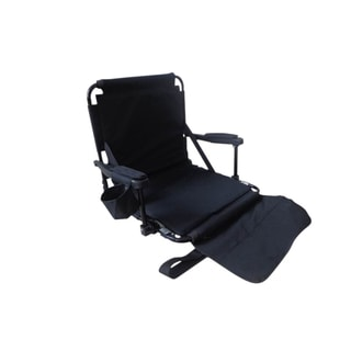 Black Stadium Chair with Arm Pads Cup holder and Bleacher Hooks