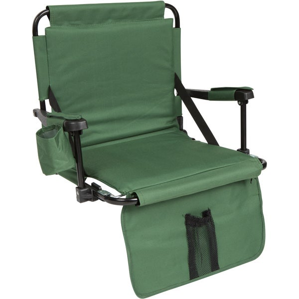 Green Stadium Chair with Under Seat Hooks and Padding