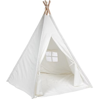 Trademark Innovations Giant Canvas Teepee Customizable Canvas Fabric in White Color With Carry Case