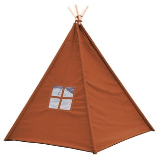Trademark Innovations Giant Canvas Teepee Customizable Canvas Fabric in Brown Color With Carry Case