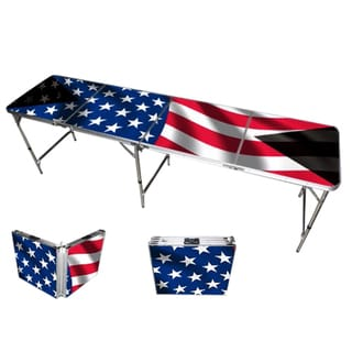 American Flag Beer Pong Table 8ft Premium HD Design Bottle Opener Ball Rack and 6 Pong Balls