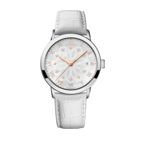 Rue Du Rhone Women's 87WA140016 'Double 8' Diamond White Leather Watch