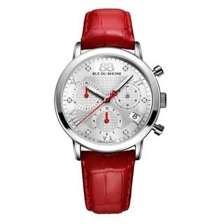 Rue Du Rhone Women's 87WA130029 'Double 8' Chronograph Diamond Red Leather Watch
