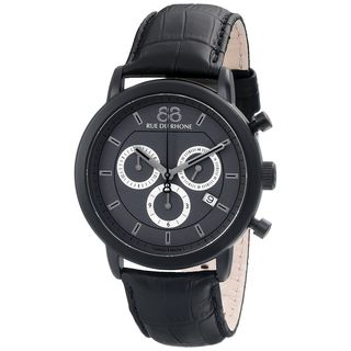 Rue Du Rhone Men's 87WA130017 'Double 8' Chronograph Black Leather Watch