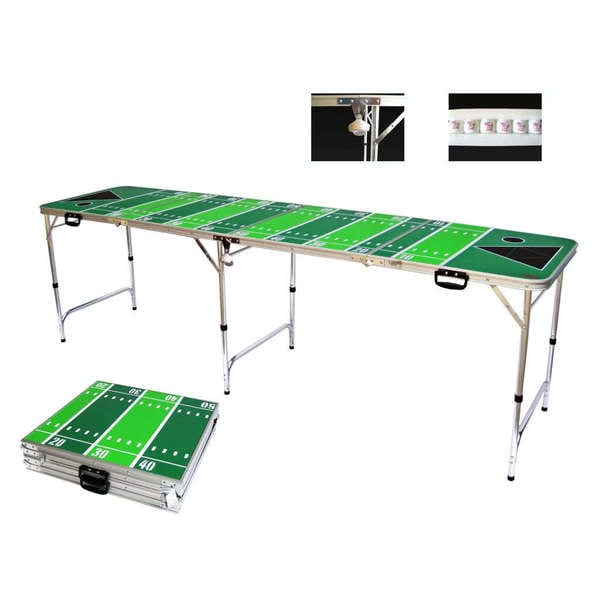 Football Tailgate Beer Pong Table 8 Feet with Bottle Opener Ball Rack and 6 Pong Balls