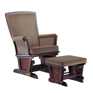 Shermag Upholstered Black Walnut/ Bella Coffee-Chocolate Glider Combo With Lock Mechanism
