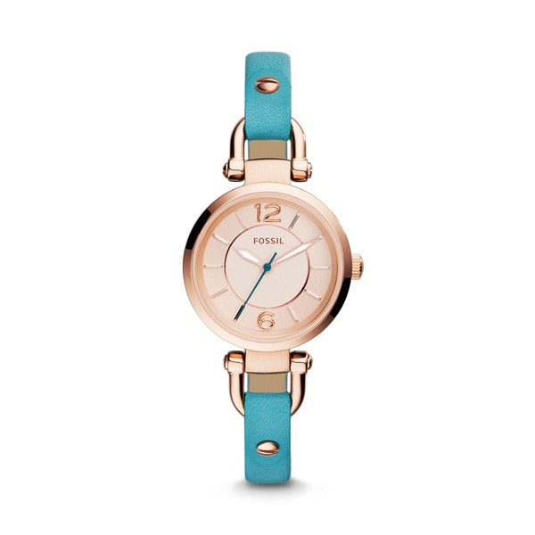 Fossil Woman's ES3744 Georgia Three Hand Leather Dragonfly Blue Watch