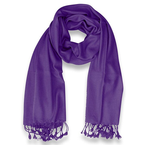 Peach Couture 100-percent Cashmere Purple Shawl