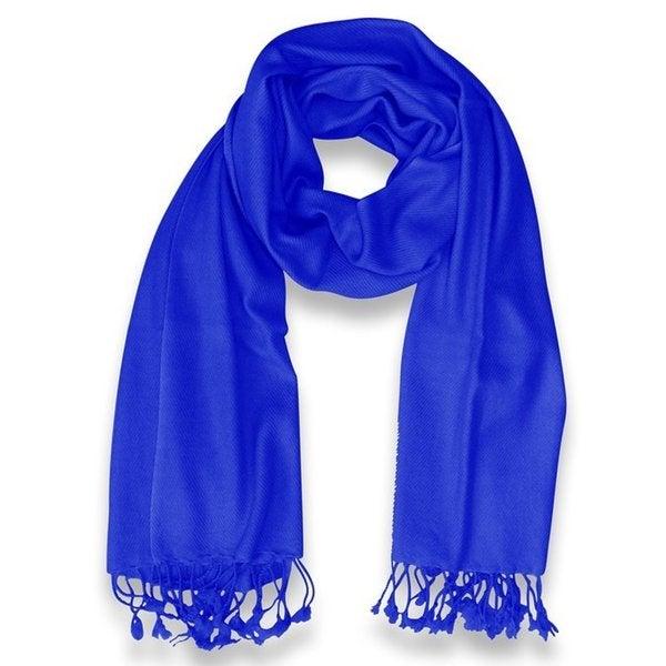 Peach Couture 100-percent Cashmere Blue Shawl