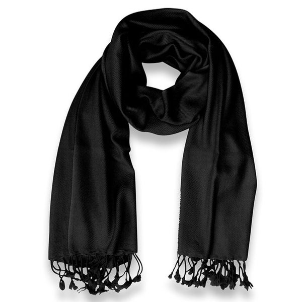 Peach Couture 100-percent Cashmere Black Shawl